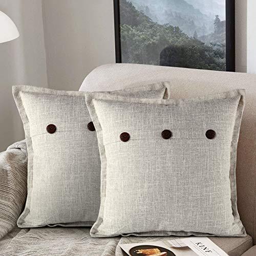 ETOLISHOP Federa per Cuscino in Lino Quadrata Decorativa Stile Vintage Rustico E Moderno 45 x 45 cm Grigio Fodere per Cuscini Decorativi Vintage