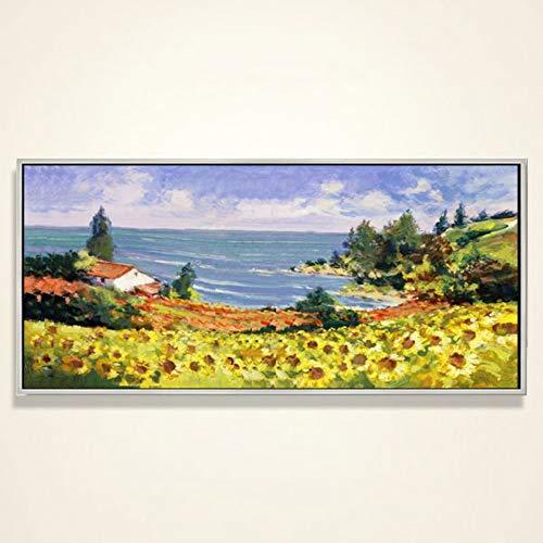 Olieverfschilderij, handbeschilderd, op canvas, abstract landschap tafels gouden, bloemen en zee, creatieve moderne wanddecoratie, grote afmetingen, voor entree, woonkamer, slaapkamer en volwassenen 100 x 200 cm