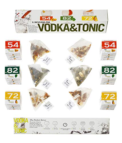 Botanicals & Aroma-Aufgussbeutel für Vodka Tonic Cocktails. 6 Beutel infusions im Probierset Geschenkset mit verschiedenen Gewürzen & Kräutern.
