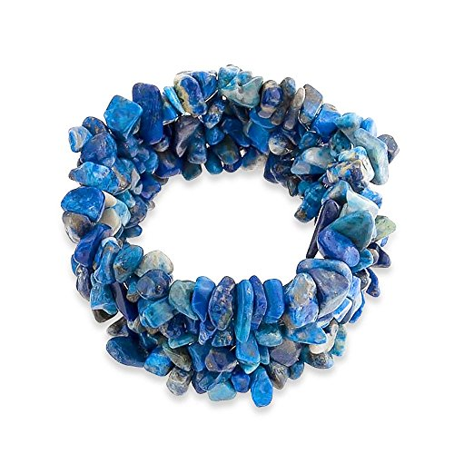 Bling Jewelry Blaue Lapis Lazuli Chip Stein Breite Chunky Cluster Multi Strand Stretch Armband Für Frauen