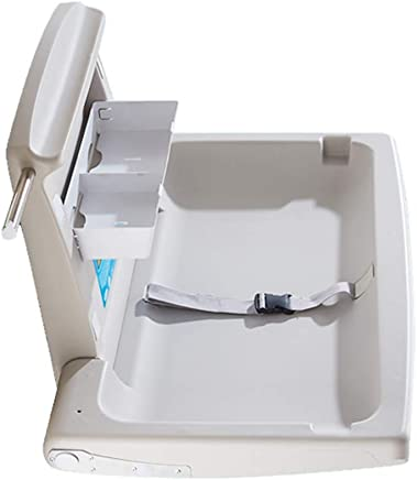 ZAQI White Horizontal Baby Changing Station Folding Diaper Station with Safety Straps for Commercial Restrooms