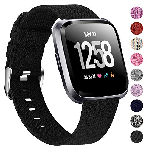 Welltin Bands Compatible with Fitbit Versa/Fitbit Versa 2/Fitbit Versa Lite for Women Men, Breathable Woven Fabric Strap, Quick Release, Adjustable Replacement Wristband for Fitbit Versa Smart Watch
