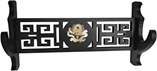 Fcloud 1 Tier Sword Holder Wall Mount Samurai Sword Rack Katana Wakizashi Display Stand Dragon Logo