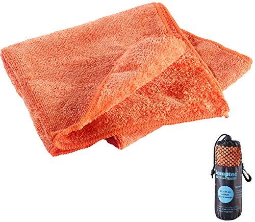 Semptec Urban Survival Technology Handtuch saugfähig: Mikrofaser-Handtuch, 2 versch. Oberflächen, 80 x 40 cm, orange (Reisehandtücher Microfaser)