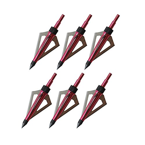 ISPORT 100 Grain Fixed Three Blade Broadheads, (6 Per Pack),Compatible with Crossbow and Compound Bow - Red Color