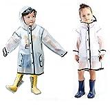 Gigabit 子供用レインコート防水透明レインコートジャケットポンチョ帽子付きロングスリーブ雨具に適して男の子若い女の子学生〜のアウトドアイベント