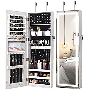 AOOU Jewelry Organizer Hanging Wall Mounted Jewelry Armoire,Full Length Mirror LED Lock Door Jewelry Cabinet with Best Intelligent Switch & Large Storage Capacity 3 Changeable LED Lights Colors White