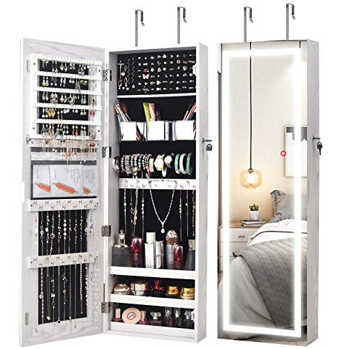 AOOU Jewelry Organizer Hanging Wall Mounted Jewelry Armoire,Full Length Mirror LED Lock Door Jewelry Cabinet with Best Intelligent Switch & Large Storage Capacity, 3 Changeable LED Lights Colors White