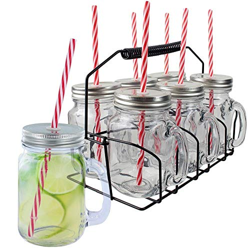 Pick and Drink KA1677 Tasse Cocktail X6 485ML avec Support, INOX/PP/Verre, Transparent/Rouge, 11 x 8,3 x 24 cm