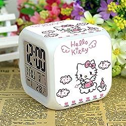 Hello Kitty Maruko 7 Colors Changing Digital Clock LED Alarm Clock Lovely Cartoon Night Light Alarm Clock for Kids,Birthday Gifts,Style 59
