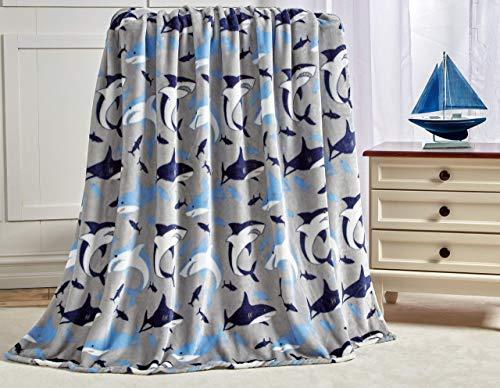 Manta de tiburón Baby by Decor&More extra suave (127 x 152 cm), color azul y gris