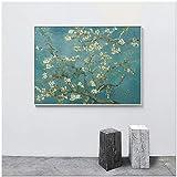 N / A Pintor Abstracto Flor Almendro Lienzo Arte Cartel Pared Sala Imagen de Gran tamaño Pintura sin Marco 50cmX62cm