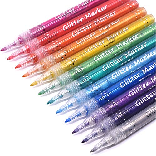 TWOHANDS Glitter Markers,Drawing Pens,Water-Based,12 Assorted Colors,Great for Paper,Posters,Greeting and Gift Cards 2003