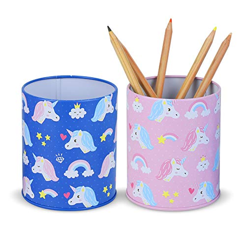 Ibnotuiy Cute Pencil Holder for Kids Unicorn Pen Cup Holder for Desk Multi-Functional Organizer Caddy Box Child Piggy Bank Deal Gift for Daily Use in Office Home (Blue Unicorn + Pink Unicorn)