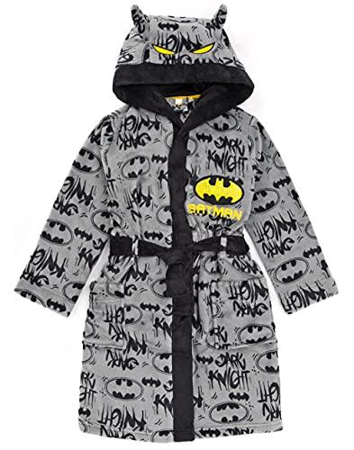DC Comics Batman Dressing Gown Jungen Kinder Grau Dark Knight PJS Bademantel 5-6 Jahre