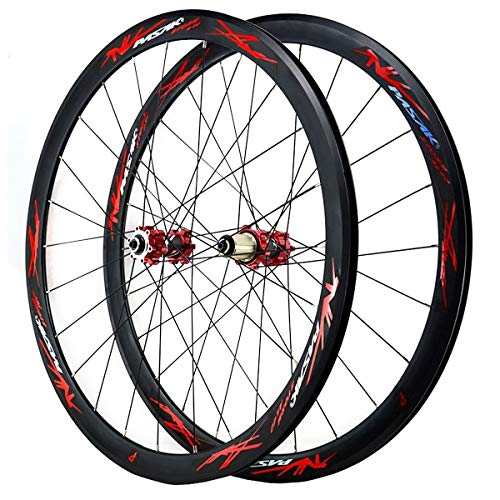 ZCXBHD 700C Road Bike Wheelset Cyclocross Road Disc Brake Front Rear Wheel V/C Brake 40MM Double Wall 7-12 Speed (Color : Red, Size : Thruaxle)