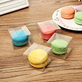 RomanticBaking 50Pack 2 x 2 x1.2 Inches Plastic Clear Single Macaron Box Party Favor Bakery Boxes Chocolate covered Ore Boxes
