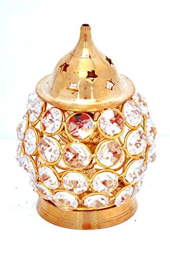 Hashcart Dekorative Messing akhand Diya Diamant Nag Tief Dia in Oval Form für Home Decor/Geschenk/Puja, Messing, Gold, Oil Lamp/Diya - 4.5 inch