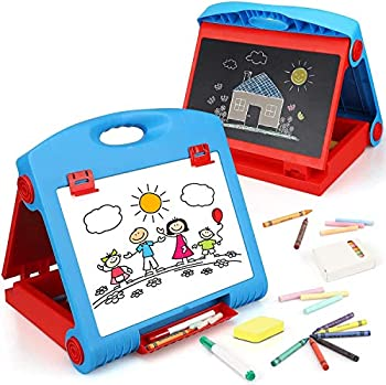 STEAM Life Tabletop Easel for Kids - Art Easel for Toddler - Kids Easel Chalkboard White Board for Kids - Dry Erase Easel for Kids - Portable Desktop Easel and Art Set for Toddlers and Kids 3 4 5 6 7