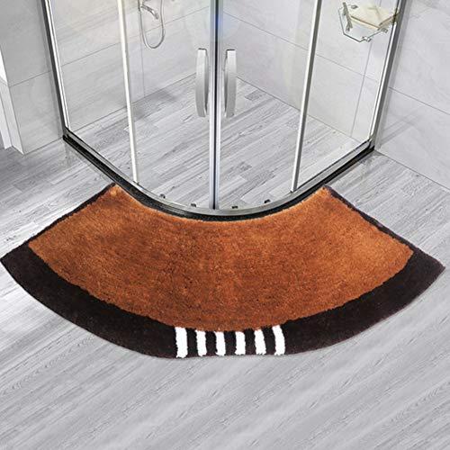 LCZ Halbkreisförmige Badematte Anti-Rutsch Badezimmer Teppich Teppiche, Fan-Shaped-Fuss-Auflage, Gebogene Duschmatte, 143Cm * 45Cm,Black Brown