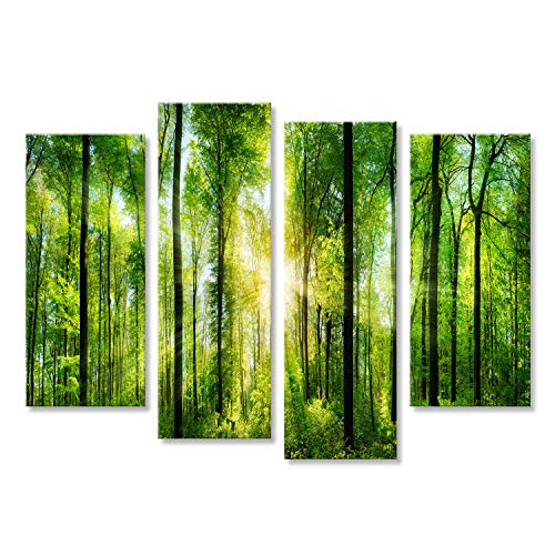 islandburner Quadro Moderno Verde Bosco con Alberi e la Luce del Sole Stampa su Tela - Quadro x poltrone Salotto Cucina mobili Ufficio casa - Fotografica Formato XXL