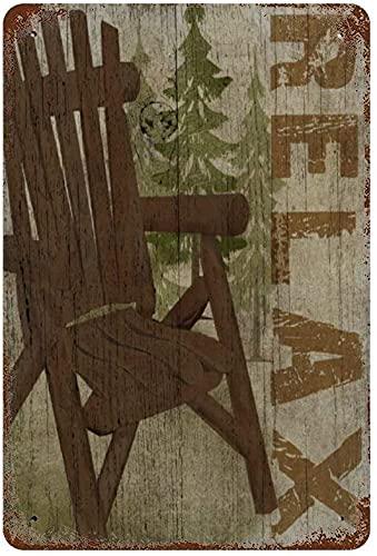 Rilassati Sedia vintage retrò in legno Poster rustico, Targa in metallo vintage Decorazione da parete Art 15.7'x11.8' Family cafe decorazione da parete, Retro Art Painting Iron Plate Poster Wall Deco