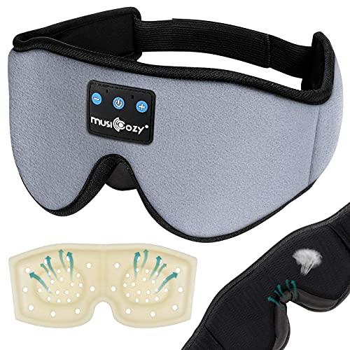 Auriculares de sueño Bluetooth máscara de ojos para hombres y mujeres, taza contorneada 3D para dormir música con los ojos vendados, bloquear la luz noche dormir máscara