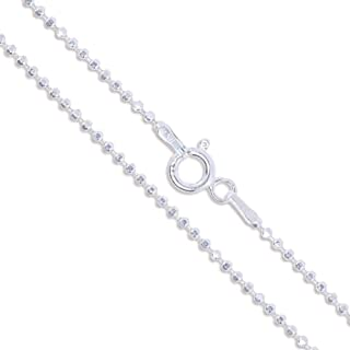 Sterling Silver Diamond-Cut Ball Bead Chain 1.5mm 925 Italy Dog Tag Necklace