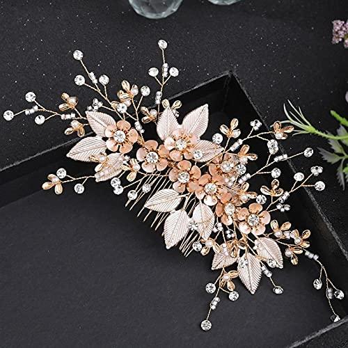 Novia Flor Peine Del Pelo de la Boda,Hoja de la vendimia Peinado para el cabello Crown Crown Crown Boda floral Accesorios de joyería de rinestoneidad de dama de honor, peines laterales para mujeres y