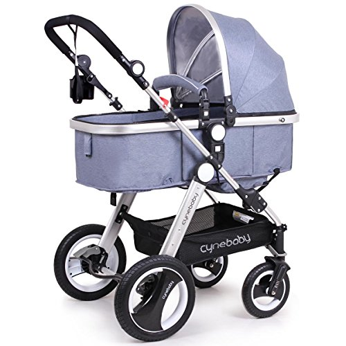 Cynebaby Newborn Baby Stroller for Infant and Toddler City Select Folding Convertible Baby Carriage Luxury High View Anti-Shock Infant Pram Stroller with Cup Holder and Rubber Wheels (Linen Blue)