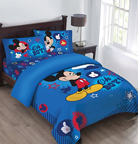 Disney Mickey Oh Boy! Gosh Licensed Twin Comforter Set Set w/Fitted Sheet