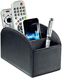 TV Remote Control Holder with 4 Compartments All-in-One Organizer Box Multi-Functional Nightstand Desktop Office Caddy Sto...