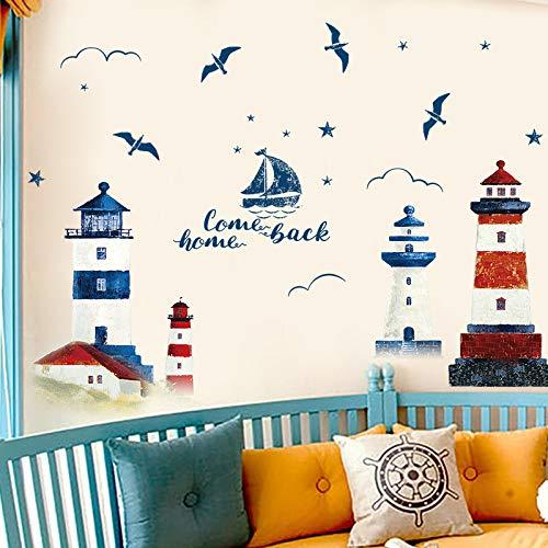 DSSJ Papel Pintado de Dormitorio Autoadhesivo mediterráneo Faro Pegatinas de Pared Personalidad Creativa Sala de Estar Dormitorio decoración de Pared póster Pegatinas