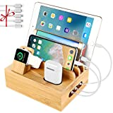 Bamboo Charging Station Dock for 4/5 / 6 Ports USB Charger,Desktop Docking Station Organizer for Cellphone,Smart Watch,Tablet(5 Charging Cables Included,No Power Supply)