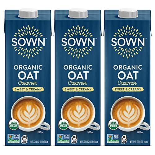 SOWN Organic Oat Creamer Sweet & Creamy - Barista Oat Milk Non Dairy Coffee Creamer - Plant Based, Dairy-Free, Vegan, Gluten-Free, Non-GMO, Shelf Stable - 32oz (Pack of 3)