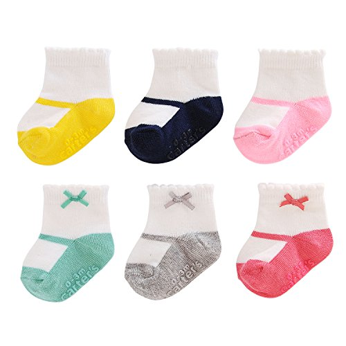 Carter's Girl 6-Pack Socks with Grippers, Crew- Mary Jane with Bow, 12-24 Months