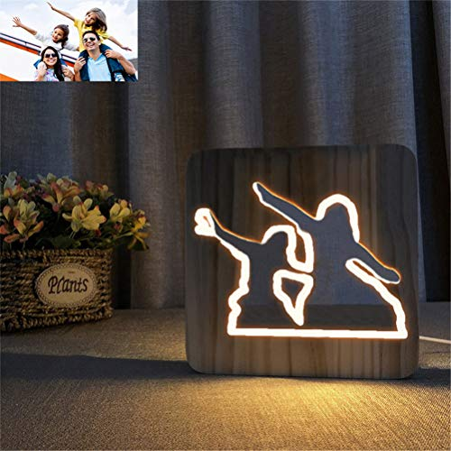ZWSLY Personalized Night Light Custom Photo Lamp Engraved Picture Lamp Wood Lamp LED Lamp Anniversary Lamp(Wood 190x190x30mm)