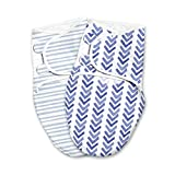 SwaddleMe Original Swaddle Luxe Edition with Easy Change Zipper 2-pk, Watercolor Indigo, Small (0-3 Months, 7-14 lbs)