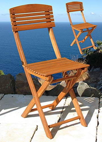 GRASEKAMP Qualität seit 1972 Balkonstuhl Toskana 2er Set Natur klappbar Klappstuhl Sessel Balkonmöbel