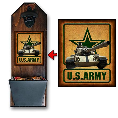 Army Be All You Can Be Bottle Opener and Cap Catcher, Wall Mounted - Handcrafted by a Vet - Made of Solid Pine 3/4' Thick - Rustic Cast Iron Opener & Galvanized Bucket - Awesome Gift!