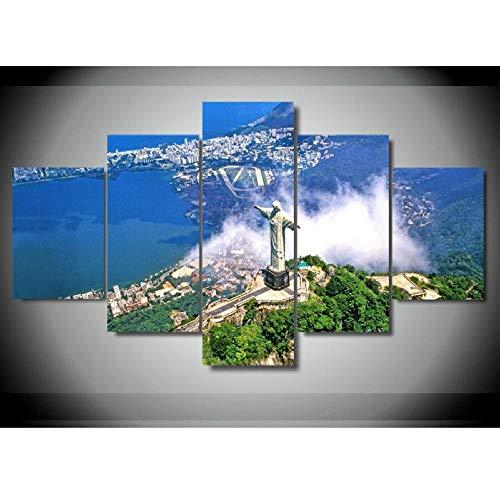 JIUZI-Modern Home Decoration Fünf Leinwandbilder-Rio De Janeiro Brasilien Christus Der Erlöser-Hd Kunstwerk Poster-Ölgemälde Wandbild Kunstwerk