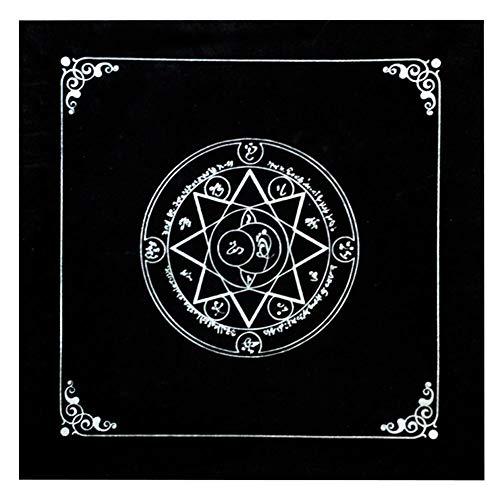 lossomly Tarot Tischdecke Tarot Karte Tischdecke Abdeckung Dekoration Pentagramm Altartuch Fünfzackiger Stern Altar Tarot Dekor Astrologie Tischmatte Tapisserie Decke - Schwarz