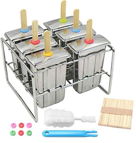 Ice Lolly Form Edelstahl Popsicle Form Eis Form mit Edelstahl Stockhalter Basis Lolly Maker Set Ice Pop Form DIY Eis Schimmel Maker Gefrierschrank-Set von 6