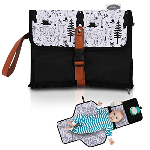Frolickly Portable Changing Pad   Diaper Pocket Doubles as Pillow  33 by 21.5 Inch Baby Changing Mat   Waterproof Travel Changing Pad
