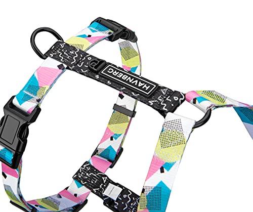 Hundegeschirr für kleine, mittel große und große Hunde, Brustgeschirr, H-Geschirr, weiß, türkis, rosa, Miami Design 80s, Größen S, M, L (M, Miami Design)