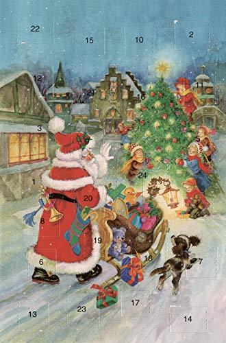 Adventskalenderkarten 5 Stück Nostalgie Modern Weihnachten Grußkarten Goldprägung Kunstkarte Doppelkarte Weihnachtskarte Retro Vintage