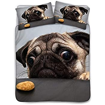 Dogs with Various States Sitting Standing Stretching Cute Cartoon Style Pet Drawing Turquoise Decorative 2 Piece Bedding Set with 1 Pillow Sham Ambesonne Pug Duvet Cover Set Twin Size