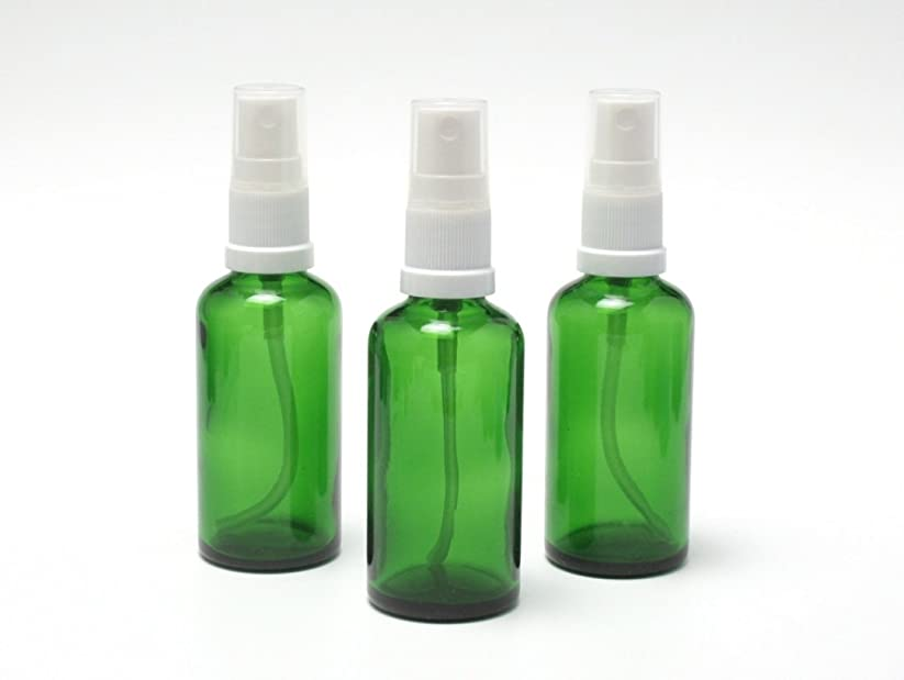 遮光瓶 スプレーボトル (グラス/アトマイザー) 50ml グリーン ホワイトヘッド 3本セット 【 【新品】アウトレットセール 】