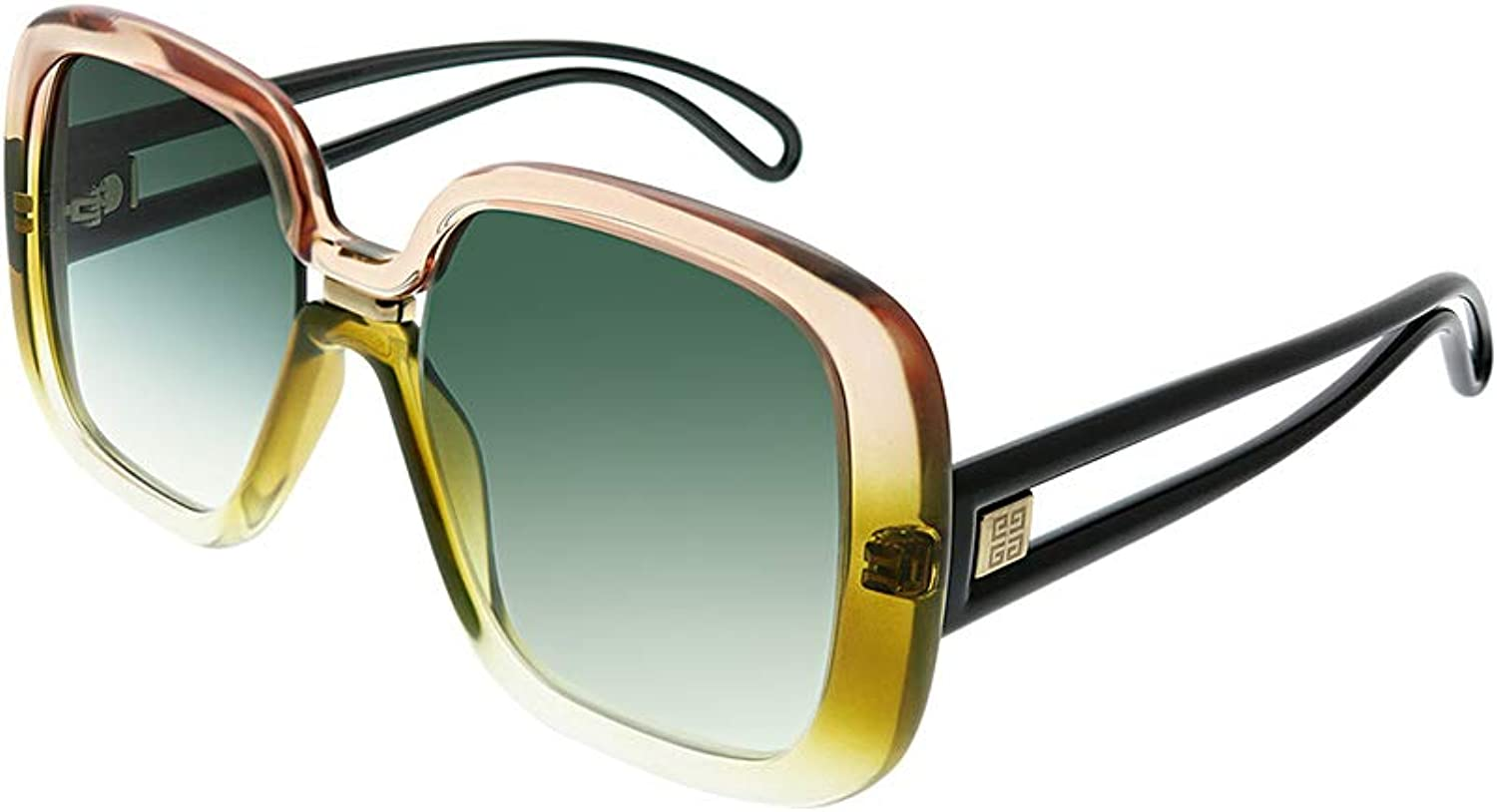 Givenchy GV 7106 039 Brown Plastic Rectangle Sunglasses Green Gradient Lens