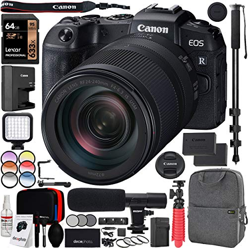 "Canon EOS RP Full-Frame Mirrorless Digital Camera Body with RF 24-240mm F4-6.3 is USM Lens Kit and Deco Gear Photo Video Pro Backpack Case Extra Battery Microphone and 72"" Monopod Bundle"